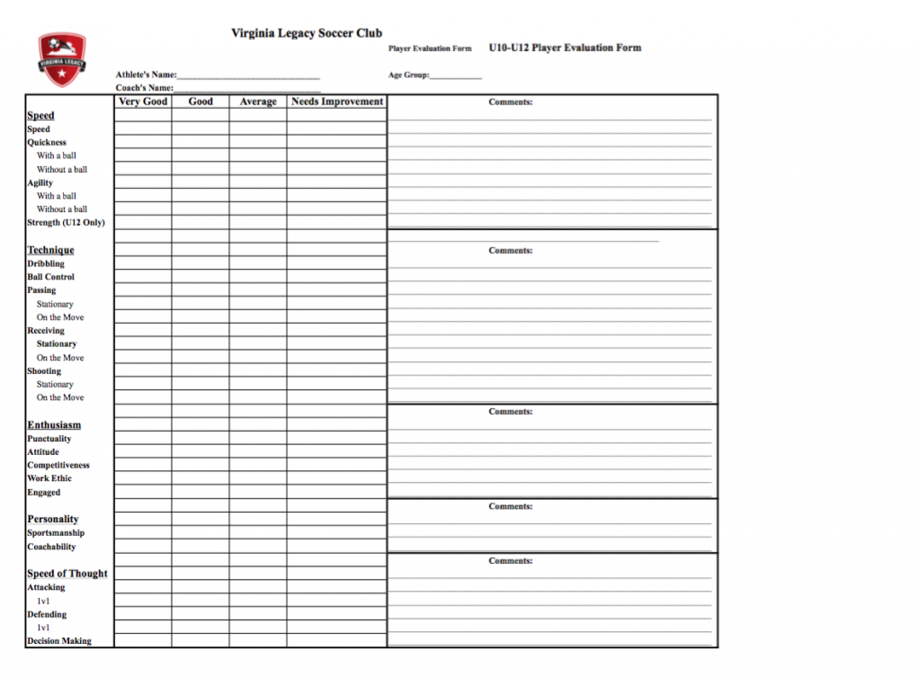 Soccer Player Evaluation Form Vlsc Coaching Forms Virginia Legacy Club